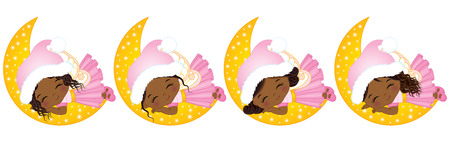 A Vector cute little Christmas fairies with various hairstyles sleeping on the Moon.