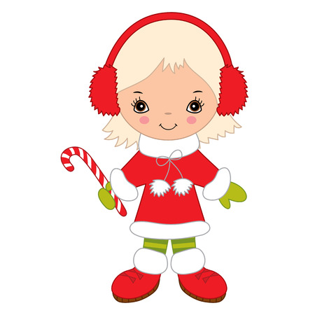 Cute little girl with Christmas candy stick. Christmas girl wearing headphones, vector illustration
