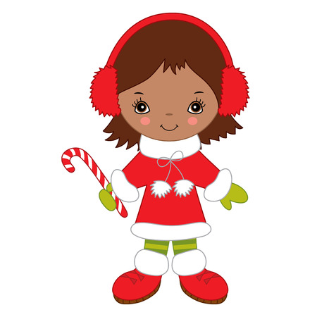 Cute little African American girl with Christmas candy stick. Christmas girl wearing headphones, vector illustration