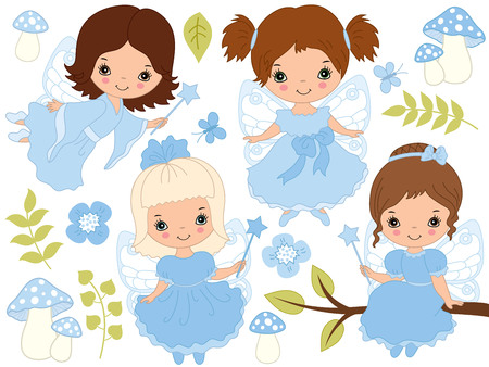 Cute little fairies vector set, amanita, butterflies, flowers and leaves, vector illustration