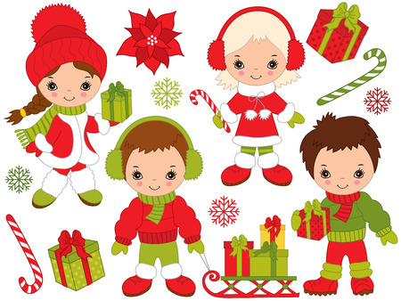 Christmas and New Year set with cute, little kids, gift boxes, candy stick, sledge, snowflakes and poinsettia. Little kids and Christmas elements, vector illustration