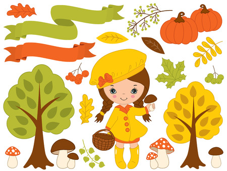 Autumn set vector. Set includes cute little girl, pumpkins, ribbons, mushrooms, berries, amanita, trees and colorful leaves. Vector little girl with mushrooms. Fall vector illustration
