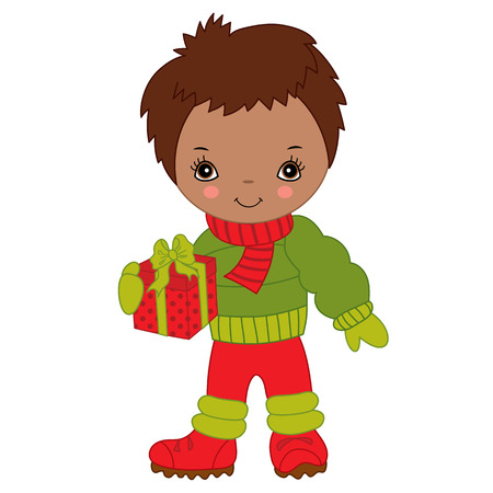 Cute little African American boy with Christmas gift box, vector illustration Illustration