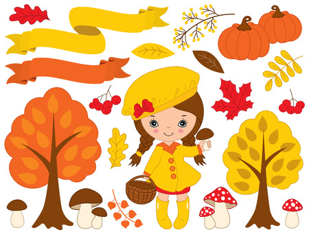 Autumn set vector. Set includes cute little girl, pumpkins, ribbons, mushrooms, berries, amanita, trees and colorful leaves. Little girl with mushrooms. Fall vector illustration Illustration