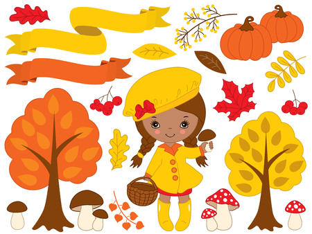 Autumn set vector. Set includes cute little African American girl, pumpkin, ribbons, mushrooms, berries, amanita, trees and colorful leaves. Little girl with mushrooms. Fall vector illustration Illustration