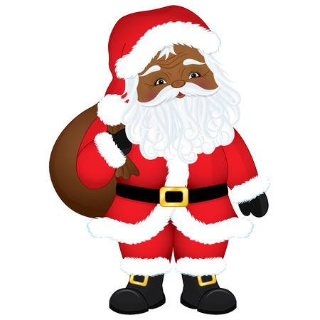 Vector cute cartoon African American Santa Claus with sack. Vector Santa. African American Santa Claus vector illustration