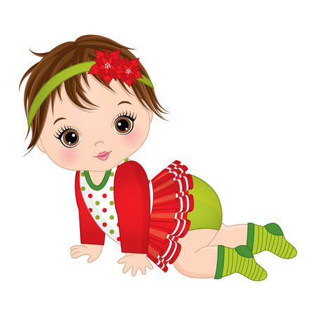 Vector cute little baby girl wearing Christmas clothes. Vector baby girl. Vector Christmas baby girl. Baby girl vector illustration Çizim