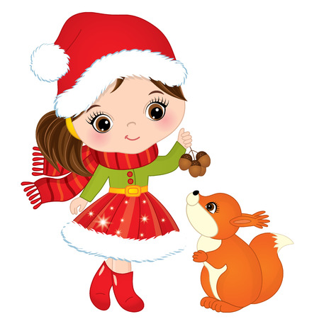 Vector cute little girl with squirrel. Vector Christmas girl in Santa hat. Vector little girl. Little girl with squirrel vector illustration