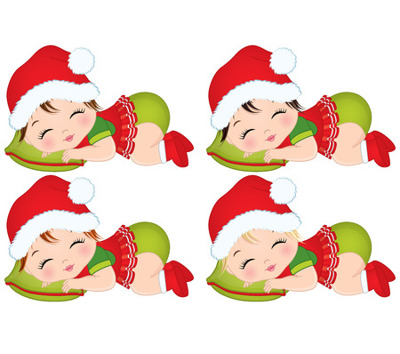Vector cute little baby girls wearing Christmas clothes. Vector baby girls with various hair colors sleeping. Vector baby girl. Baby girls vector illustration