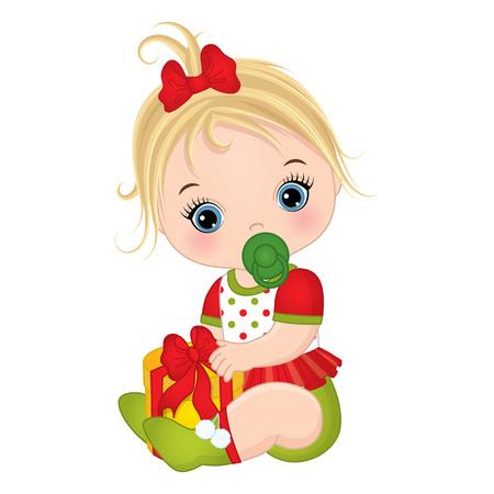 かわいい小さな赤ちゃん女の子着てクリスマス服をベクトルします。ベクトルの女の子.クリスマス ギフト ボックスに女の赤ちゃんをベクトルしま