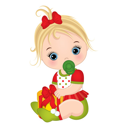 Vector cute little baby girl wearing Christmas clothes. Vector baby girl. Vector Christmas baby girl with gift box. Baby girl vector illustration Vettoriali