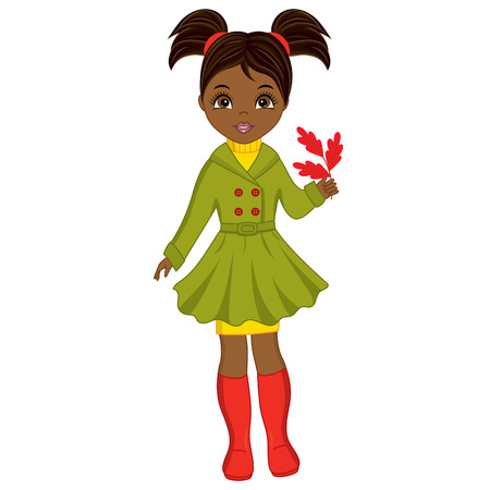 Vector beautiful young African American girl with oak leaves. Vector autumn girl. African American girl vector illustration