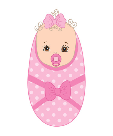 Vector cute baby girl with soother. Vector baby girl. Baby girl vector illustration