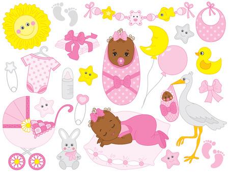 Vector conjunto de niña. El juego incluye una linda niña afroamericana, un cochecito, una cigüeña, ropa de bebé y juguetes. Vector bebé niña ducha. Ilustración de vector de niña afroamericana