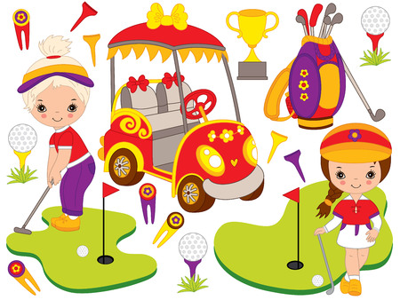 Vector golf set. Golf set includes little cute girls playing golf, golf buggy, accessories and trophy. Vector golfers. Golf vector illustration