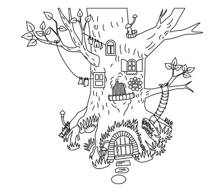 Vector black and white magic tree house in the forest. Vector magic house for gnomes. Forest tree house vector illustration Illustration