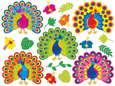 Vector set with cute cartoon peacocks, tropical leaves and hibiscus. Vector peacock. Peafowls vector illustration