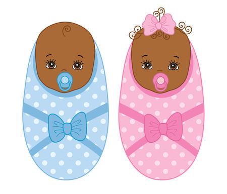 Vector cute African American newborn twins. Vector baby boy. Vector baby girl. African American twins vector illustration