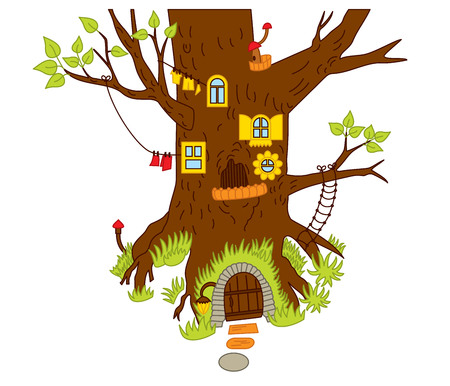 Vector magic tree house in the forest. Vector magic house for gnomes. Forest tree house vector illustration Illustration