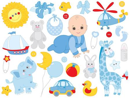 Vector baby boy set. Set includes cute little baby boy, accessories and toys. Vector baby boy shower. Boy boy vector illustration
