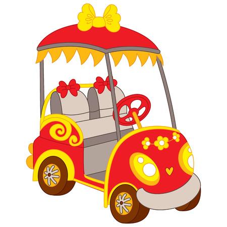 Vector golfbuggy. Vector golf auto. Golf buggy vectorillustratie