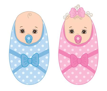 Vector cute newborn twins. Vector baby boy. Vector baby girl. Twins vector illustration