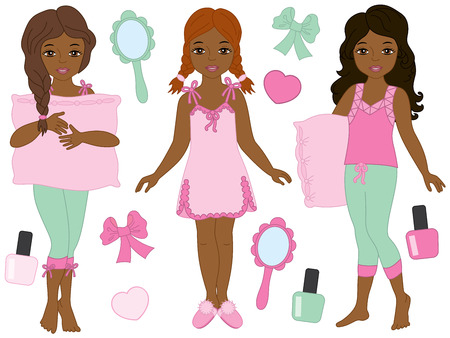 Vector set with beautiful young African American girls wearing pajamas. Vector pajamas party. Vector African American girls. African American girls in pajamas vector illustration Illustration