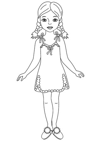 Vector black and white beautiful young girl wearing nightdress and sleepers. Vector young girl. Girl in nightgown vector illustration