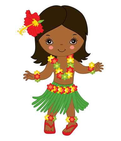 Vector cute little girl in in traditional Hawaiian costume dancing hula. Vector little girl. Hawaiian little girl dancing vector illustration
