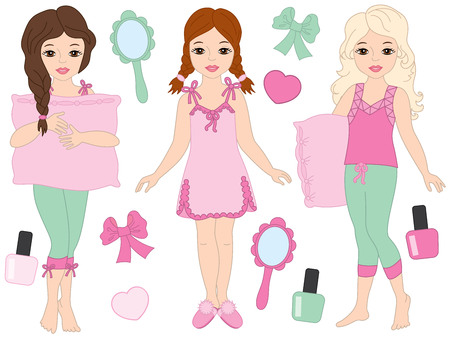 Vector set with beautiful young girls wearing pyjamas. Vector pajamas party. Vector young girls. Girls in pajamas vector illustration