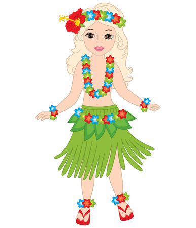 Vector beautiful young girl in in traditional Hawaiian costume dancing hula. Vector Hawaiian girl. Hawaiian girl dancing vector illustration