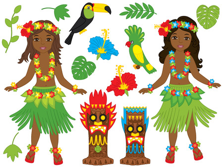 Vector Hawaiian set includes beautiful young girls in traditional Hawaiian costume dancing hula, tiki masks, parrot, toucan, hibiscus, leaves and palm tree. Hawaiian girls vector illustration