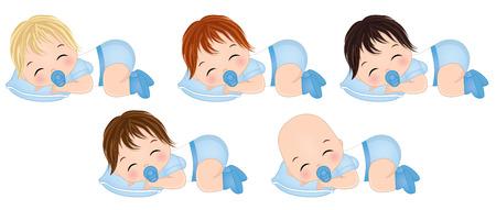 Vector cute baby boys sleeping. Vector baby boys with various hair colors. Vector baby boy shower. Baby boys vector illustration Illustration