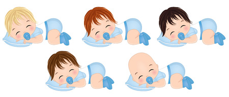 Vector cute baby boys sleeping. Vector baby boys with various hair colors. Vector baby boy shower. Baby boys vector illustration Illustration