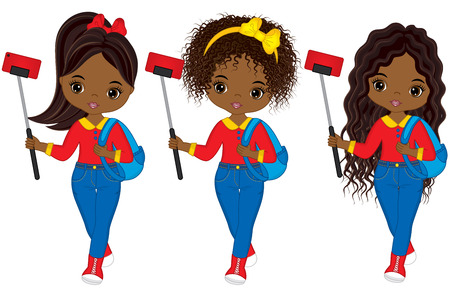 Vector cute young African American girls making selfie. Vector tourists making selfie. Vector African American girl. Beautiful African American girls vector illustration