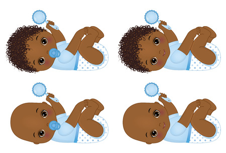 Vector cute African American baby boys with rattles. Vector baby boy shower. Vector baby boy. African American baby boys vector illustration