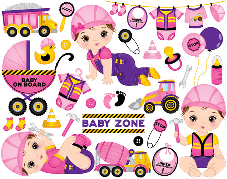 Vector construction set. Set includes cute little baby girls dressed as little builders, tools, construction transport and road signs. Vector baby girl shower. Baby girls vector illustration 向量圖像