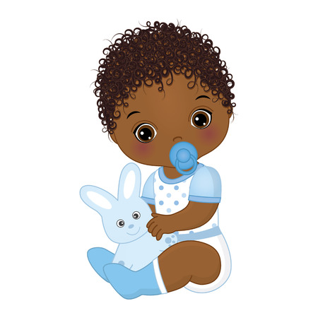 Vector cute African American baby boy with toy bunny. Vector baby boy with dummy. Vector baby boy shower. African American baby boy vector illustration