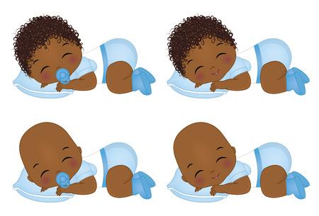 Vector lindo bebé afroamericano durmiendo. Niño de vector. Ducha de bebé de vector. Ilustración de vector de bebés afroamericanos Ilustración de vector