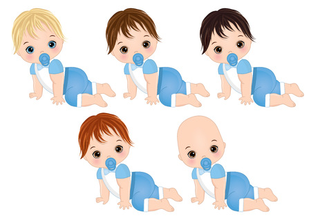 Vector cute baby boys crawling. Vector baby boys with various hair colors. Vector baby boy shower. Baby boys vector illustration 向量圖像