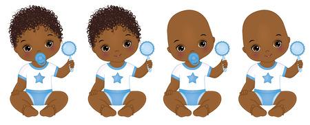 Vector cute little African American baby boys with rattles. Vector baby boy shower. African American baby boys vector illustration