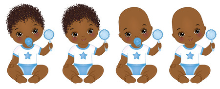 Vector cute little African American baby boys with rattles. Vector baby boy shower. African American baby boys vector illustration