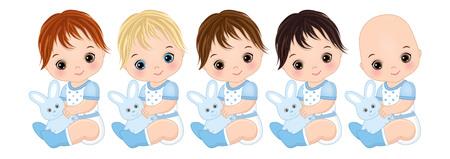 Vector cute baby boys with toy bunnies. Vector baby boys with various hair colors. Vector baby boy shower. Baby boys vector illustration Illustration