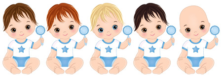 Vector cute baby boys with rattles. Vector baby boys with various hair colors. Vector baby boy shower. Baby boys vector illustration