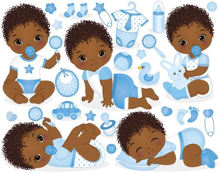 Vektorsatz mit niedlichen afroamerikanischen Jungen, Spielzeug, Kleidung, Dekorationen und verschiedenen Accessoires. Vektorbaby. Vektor-Babyparty. Rican American Baby Boys Vektor-Illustration