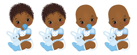 Vector cute little African American baby boys with toy bunnies. Vector baby boy shower. African American baby boys vector illustration 일러스트