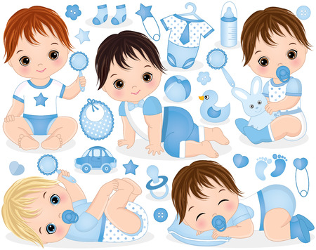 Vector set with cute baby boys, toys, clothes, decorations and various accessories. Vector baby boys with various hair colors. Vector baby boy. Vector baby boy shower. Baby boys vector illustration