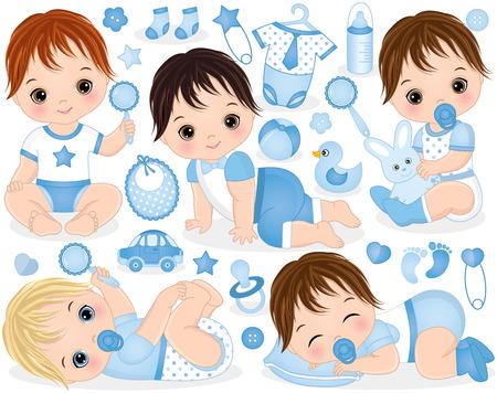 Vektorsatz mit niedlichen Jungen, Spielzeug, Kleidung, Dekorationen und verschiedenen Accessoires. Vektorbabys mit verschiedenen Haarfarben. Vektor Baby. Vektor-Babyparty. Baby Jungen Vektor-Illustration
