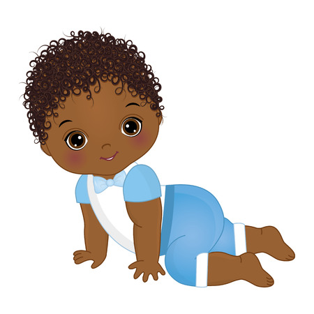 Vector lindo bebé afroamericano gateando. Ducha de bebé de vector. Ilustración de vector de niño bebé afroamericano