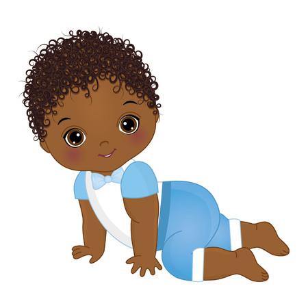 Vektor niedlichen afroamerikanischen Baby kriechen. Vektor-Babyparty. Afroamerikaner-Baby-Vektorillustration